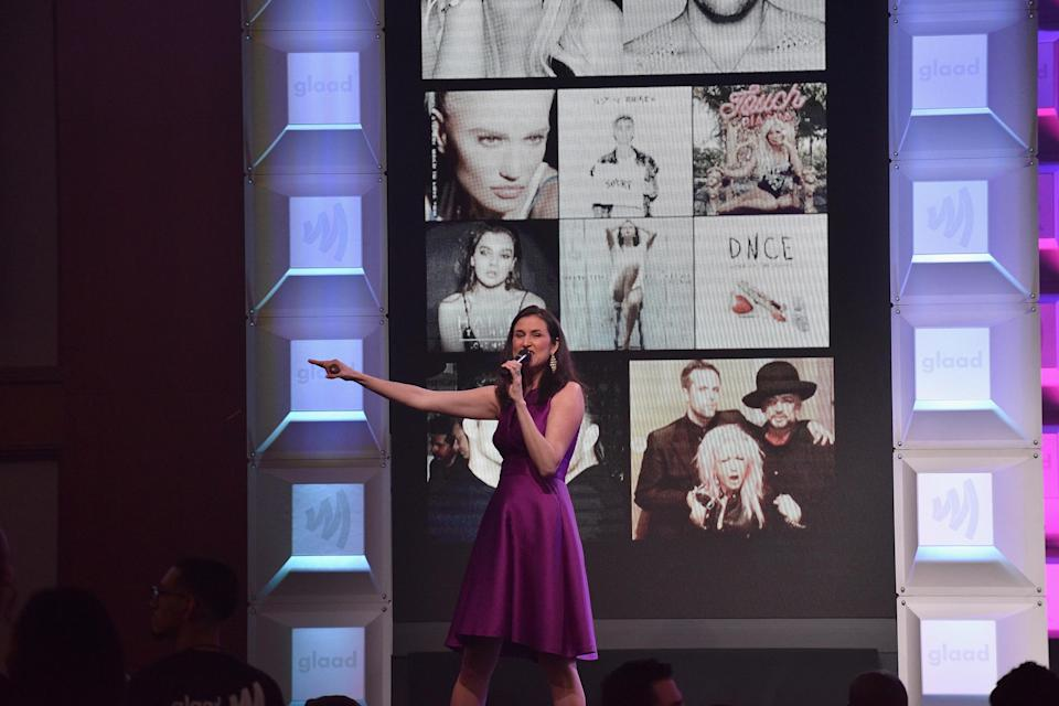 NEW YORK, NY – MAY 06: Christie's Auction House SVP Lydia Fenet auctions on stage at the 28th Annual GLAAD Media Awards at The Hilton Midtown on May 6, 2017 in New York City. (Photo by Bryan Bedder/Getty Images for GLAAD)
