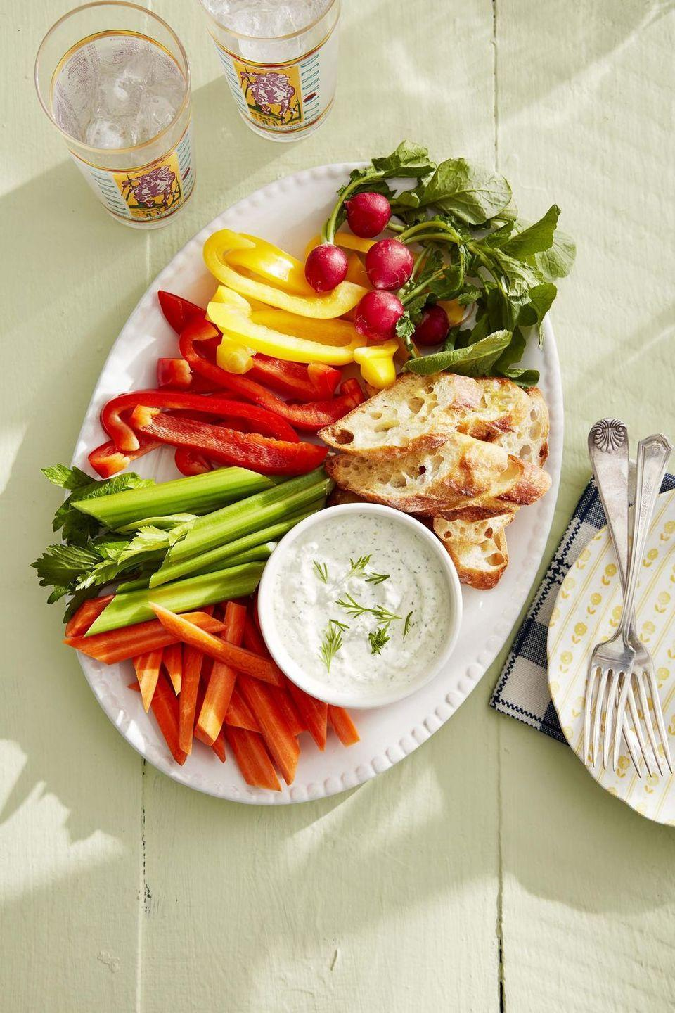 "<p>Cream cheese, cucumber, and dill make this an elegant, refreshing dip to serve with your prettiest crudité</p><p><em><a href=""https://www.countryliving.com/food-drinks/a32042586/benedictine-spread/"" rel=""nofollow noopener"" target=""_blank"" data-ylk=""slk:Get the recipe from Country Living »"" class=""link rapid-noclick-resp"">Get the recipe from Country Living »</a></em></p>"