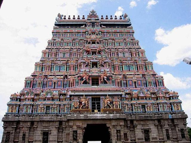 """Chidambaram Temple is a Hindu temple dedicated to Lord Shiva. Chidambaram is one of the five Pancha Bootha Sthalas, each representing one of the five natural elements. Chidambaram represents akasha (ether). The other four temples in this category are Thiruvanaikaval Jambukeswara (water) in Trichy, Kanchi Ekambareswara (earth) in Kanchipuram, Thiruvannamalai Arunachaleswara (fire) in Thiruvannamalai and Kalahasti Nathar (wind) in Kalahasti. The tandava represented in Chidambaram is Ananda tandava, the cosmic dance of Lord Nataraja (Shiva). Another important aspect in Chidambaram is of the Five Sabhas. Chidambaram represents Por Sabai or Ponnambalam. The other Sabhas are at Thiruvalangadu (Rathina Sabai - ruby), Madurai (Velliambalam - silver), Tirunelveli (Thamira Sabai - copper), Kutralam (Chitra Sabai - painting). All the main Saivite Nayanars -- namely Thirugnana Sambandhar, Appar, Sundarar and Manicka Vasakar -- visited this holy shrine and it is said that they entered this temple from all the four cardinal directions, i.e. through the South, West, North and East Gopurams, denoting the four different margas or pathways. The gold-plated gopuram is the one of the main attractions of this temple. Chidambaram is supposed to be the oldest of Saivite temples and all Thirumurai concerts conclude with the words """"Thiruchitrambalam""""."""
