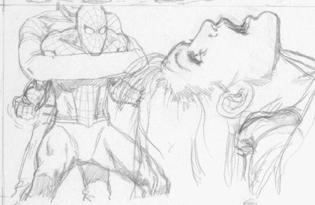 "Spider-Man battled Sandman to save Mary Jane in this panel from Cameron-commissioned storyboards. (Image <a href=""http://techland.com/2010/01/13/but-wait-james-cameron-almost-saved-spidey-18-years-ago/smgallery1/"" rel=""nofollow noopener"" target=""_blank"" data-ylk=""slk:via Time/Techland"" class=""link rapid-noclick-resp"">via <em>Time</em>/Techland</a>)"