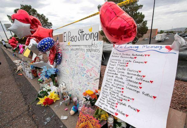 PHOTO: The names of the shooting victims adorn a makeshift memorial at the Cielo Vista Mall Walmart in El Paso, Texas, on August 6, 2019. (Mark Ralston/AFP/Getty Images)
