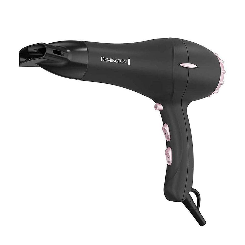 """<p><strong>Remington</strong></p><p>amazon.com</p><p><strong>$23.67</strong></p><p><a href=""""https://www.amazon.com/dp/B003V264WW?tag=syn-yahoo-20&ascsubtag=%5Bartid%7C2089.g.581%5Bsrc%7Cyahoo-us"""" rel=""""nofollow noopener"""" target=""""_blank"""" data-ylk=""""slk:Shop Now"""" class=""""link rapid-noclick-resp"""">Shop Now</a></p><p>The ceramic barrel of this Remington hair dryer is infused with real crushed pearls. By transferring micro-conditioners through the air via the dryer, hair looks extra smooth, and the dryer also offers an impressive 40% faster airflow than its competitors. </p><p>Director of SEO and content <a href=""""https://www.bestproducts.com/author/208878/erica-murphy/"""" rel=""""nofollow noopener"""" target=""""_blank"""" data-ylk=""""slk:Erica Murphy"""" class=""""link rapid-noclick-resp"""">Erica Murphy</a> calls this her blow-dryer of choice, saying she's had this particular product for more than 5 years and it """"still works like a charm.""""</p><p>She also notes that this is her to-go for its powerful blow-drying skills, multiple heat settings, and simplicity. """"All it takes is about five minutes and my hair is perfectly dry,"""" she says.</p><p><strong>More:</strong> <a href=""""https://www.bestproducts.com/beauty/g2153/travel-sized-hair-blow-dryers/"""" rel=""""nofollow noopener"""" target=""""_blank"""" data-ylk=""""slk:Travel Hair Dryers Worth Keeping in Your Carry-On"""" class=""""link rapid-noclick-resp"""">Travel Hair Dryers Worth Keeping in Your Carry-On</a></p>"""