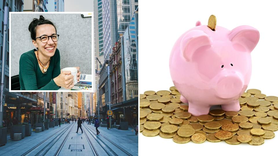 Picutred: Branka Injac Misic, George Street Sydney, piggy bank. Images: Getty, Supplied