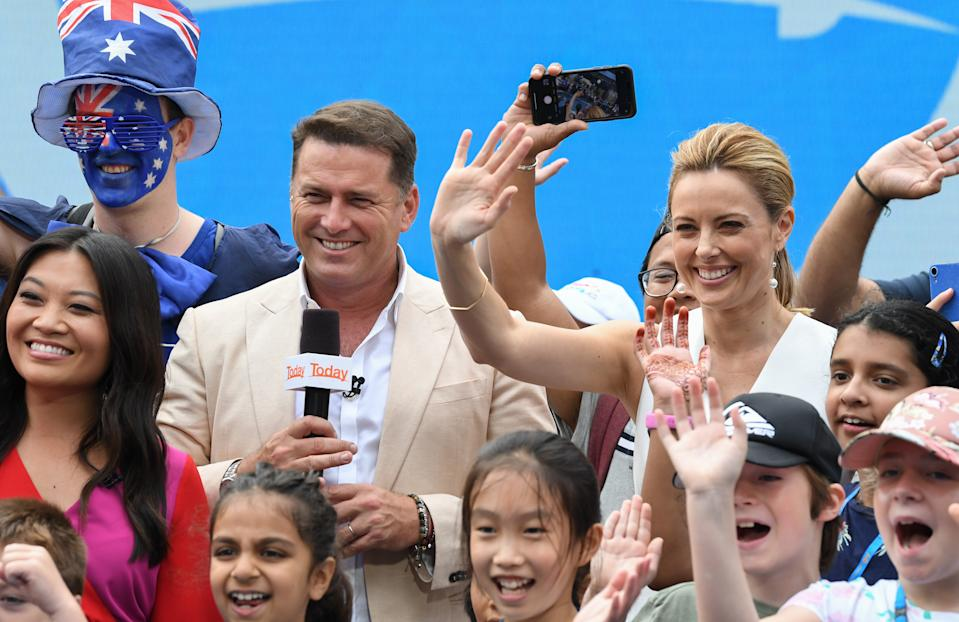 Karl Stefanovic and Allison Langdon on the set of Channel Nine's Today show at the 2020 Australian Open at Melbourne Park on January 20, 2020 in Melbourne, Australia