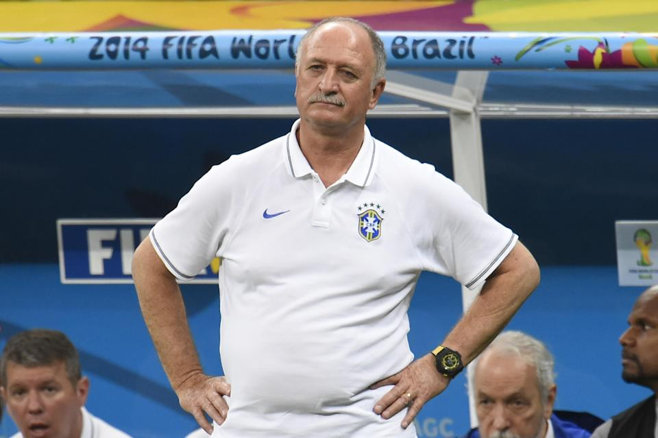 Brazil's coach Luiz Felipe Scolari reacts during the third place play-off football match between Brazil and Netherlands during the 2014 FIFA World Cup at the National Stadium in Brasilia on July 12, 2014 (AFP Photo/Fabrice Coffrini)