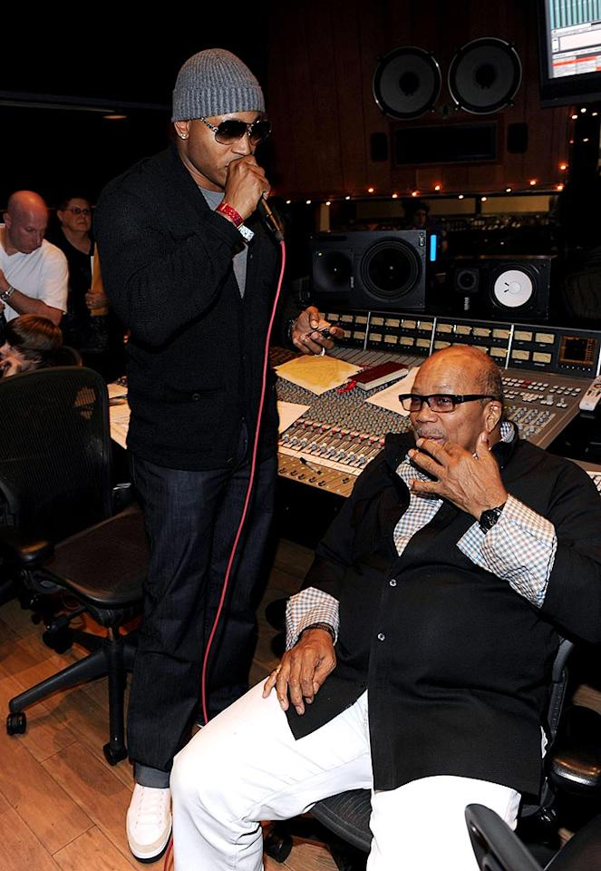 "LL Cool J hung out in the booth with legendary music producer Quincy Jones, who was also key in the creation of the original ""We Are the World."" Kevin Mazur/<a href=""http://www.wireimage.com"" target=""new"">WireImage.com</a> - February 1, 2010"
