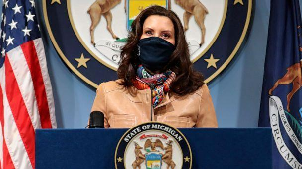 PHOTO: Gov. Gretchen Whitmer addresses the state during a speech in Lansing, Mich. April 9, 2021. (Michigan Office of the Governor via AP)