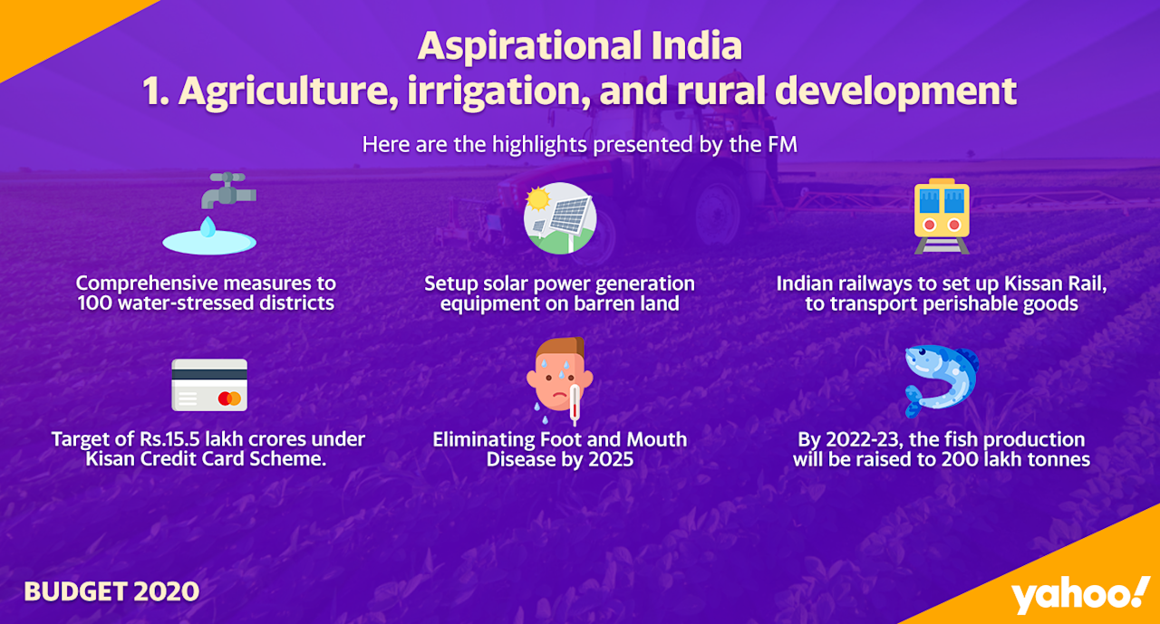 <strong>Krishi Udaan</strong> will be launched by Civil Aviation Ministry to transport agri-products to national as well as international destinations. Self Help Groups will be allowed to set up village agri storage facilities. NABARD will map and geo-tab 162 mn tonne capacity agri warehouses across country. FCI and Warehousing Corporation of India to build warehousing facility on their land. One horticulture crop in one district on cluster basis will be promoted.