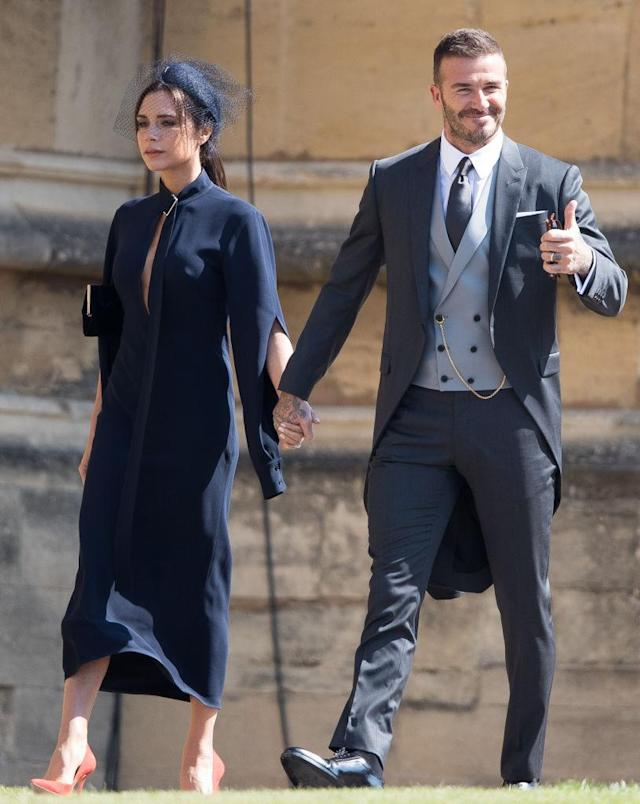 David and Victoria Beckham arrive at Windsor Castle for Prince Harry and Meghan Markle's wedding. (Getty Images)