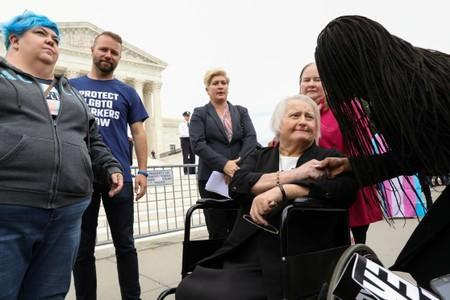 Aimee Stephens, the lead plaintiff in transgender rights case, exits U.S. Supreme Court in Washington