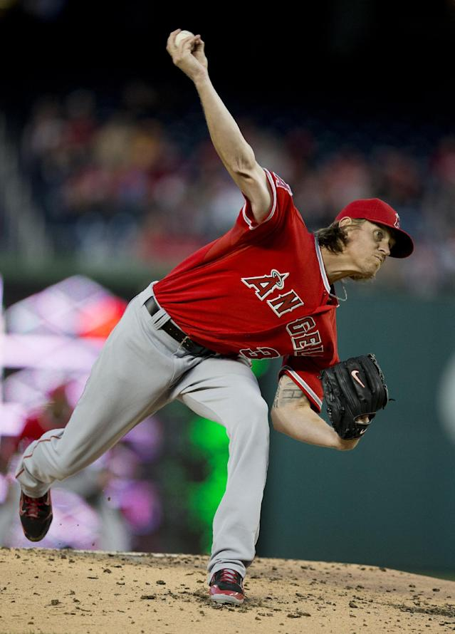 Los Angeles Angels starting pitcher Jered Weaver throws to a Washington Nationals batter during the third inning of a baseball game, Wednesday, April 23, 2014 in Washington. (AP Photo/Pablo Martinez Monsivais)
