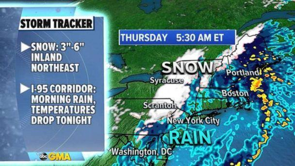 PHOTO: This storm is moving through the Northeast, with cold air mixing in and producing snow from Pennsylvania into New York and into New England. (ABC News)
