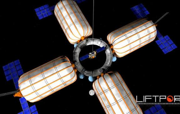 Part of the space elevator concept that LiftPort Group hopes can shuttle cargo down to the moon.