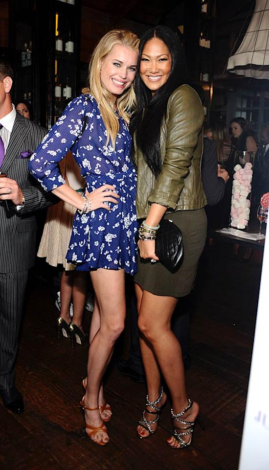 """Rebecca also met up with her pal -- and probably one of the few women in the room who's taller than she is -- Kimora Lee Simmons. Stefanie Keenan/<a href=""""http://www.wireimage.com"""" target=""""new"""">WireImage.com</a> - April 5, 2011"""