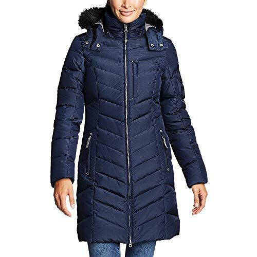 """<p><strong>Eddie Bauer</strong></p><p>amazon.com</p><p><strong>$179.40</strong></p><p><a href=""""https://www.amazon.com/dp/B0183NXLEW?tag=syn-yahoo-20&ascsubtag=%5Bartid%7C10055.g.2273%5Bsrc%7Cyahoo-us"""" target=""""_blank"""">Shop Now</a></p><p>This parka has everything you could want in a winter coat: 650-fill-power down that's certified by the Responsible Down Standard, a water-repellant finish, and <strong>adjustable cuffs that prevent heat from escaping</strong> through the sleeves. The fabric cover has unique dying process that gives it a subtle sheen look and there's a two-way zipper so you can open it from either end.</p><p><em>More details:<br>• </em>Mid-length<br>• 650 fill power<br>• Removable hood and faux fur trim</p>"""