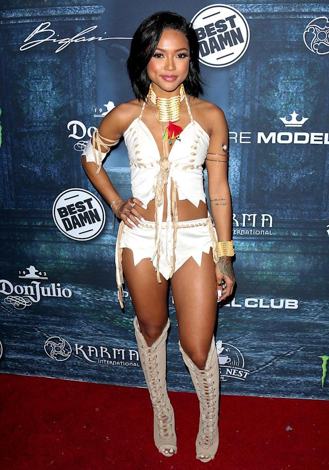 <p>At <i>Maxim</i>'s Halloween party, Tran almost ran into ex Chris Brown while wearing a barely there ensemble inspired by Pocahontas. Fortunately, the two reportedly did not cross paths at the party with thousands of guests. (Photo: Paul Archuleta/FilmMagic) </p>