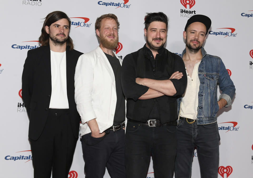 (L-R) Winston Marshall, Ted Dwane, Marcus Mumford, and Ben Lovett of Mumford & Sons attend the 2019 iHeartRadio Music Festival at T-Mobile Arena on September 21, 2019 in Las Vegas, Nevada. (Photo by Bryan Steffy/Getty Images)