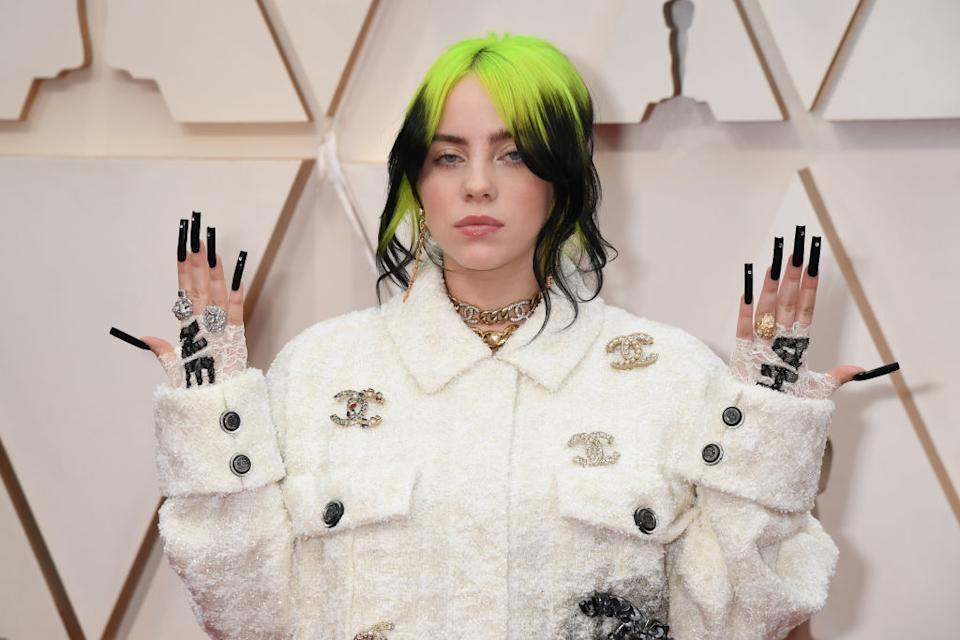 Billie Eilish has released a video addressing body shamers, pictured here at the Annual Academy Awards in February 2020. (Getty Images)