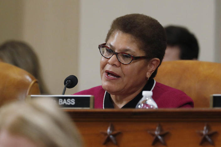 Rep. Karen Bass, D-Calif., talks during a hearing before the House Judiciary Committee on the constitutional grounds for the impeachment of President Donald Trump, on Capitol Hill in Washington, Wednesday, Dec. 4, 2019. (AP Photo/Andrew Harnik)