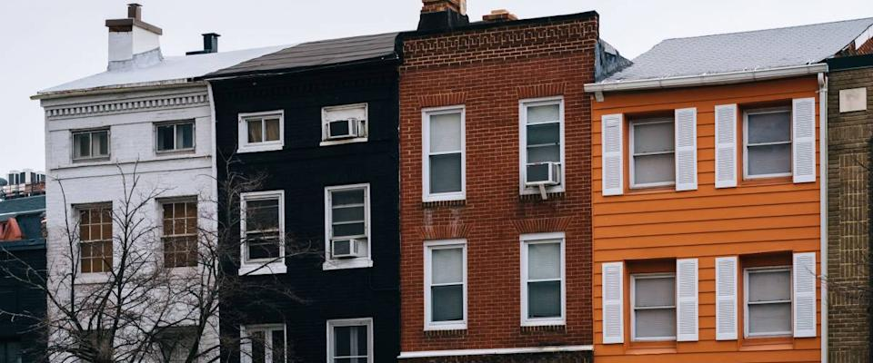 Colorful row houses in Mount Vernon, Baltimore, Maryland.
