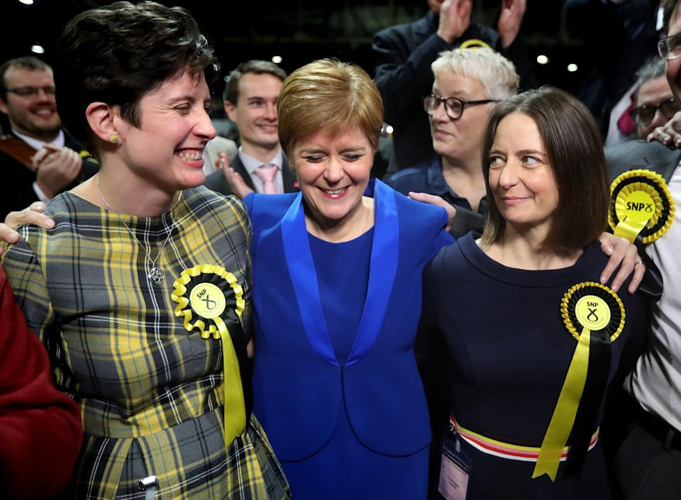 First Minister Nicola Sturgeon celebrates with supporters at the SEC Centre in Glasgow during counting for the 2019 General Election.