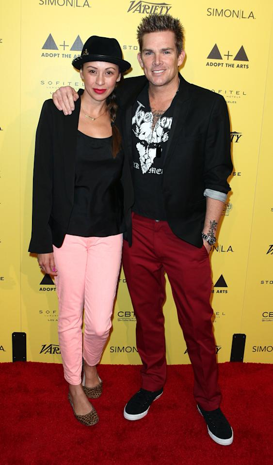 LOS ANGELES, CA - MARCH 18:  Vocalist Mark McGrath (R) and wife Carin Kingsland (L) arrive at the Adopt The Arts kick off event at Sofitel Hotel on March 18, 2012 in Los Angeles, California.  (Photo by Chelsea Lauren/WireImage)