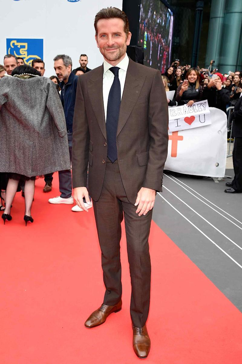 """Bradley Cooper in Tom Ford at the premiere of """"A Star is Born"""" during Toronto Film Festival on September 9th."""