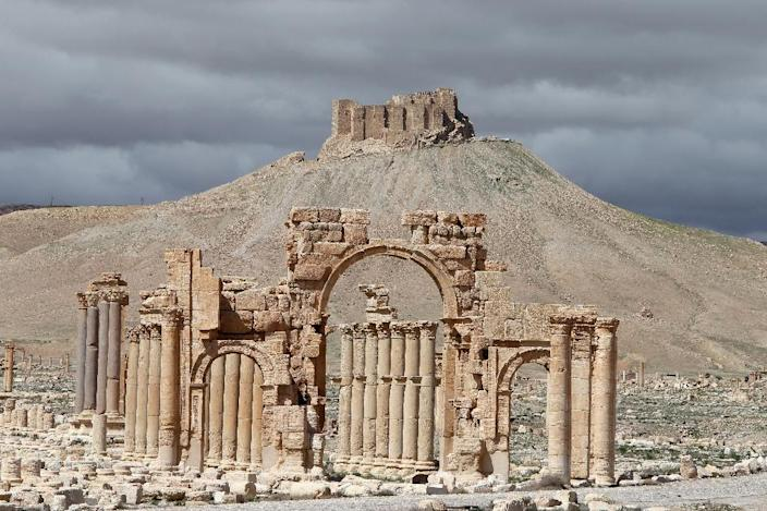 A partial view of the ancient oasis city of Palmyra with the citadel in the background, 215 kilometres northeast of Damascus, in 2014 (AFP Photo/Joseph Eid)