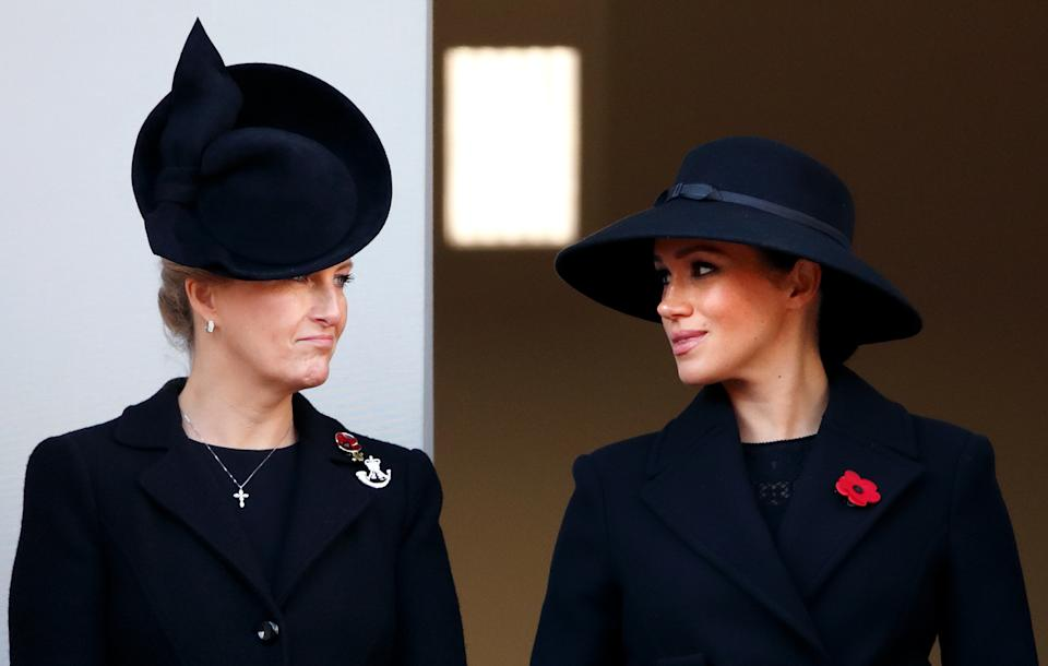 LONDON, UNITED KINGDOM - NOVEMBER 10: (EMBARGOED FOR PUBLICATION IN UK NEWSPAPERS UNTIL 24 HOURS AFTER CREATE DATE AND TIME) Sophie, Countess of Wessex and Meghan, Duchess of Sussex attend the annual Remembrance Sunday service at The Cenotaph on November 10, 2019 in London, England. The armistice ending the First World War between the Allies and Germany was signed at Compiegne, France on eleventh hour of the eleventh day of the eleventh month - 11am on the 11th November 1918. (Photo by Max Mumby/Indigo/Getty Images)