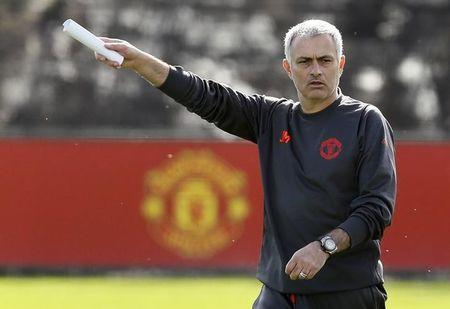 Manchester United manager Jose Mourinho during training