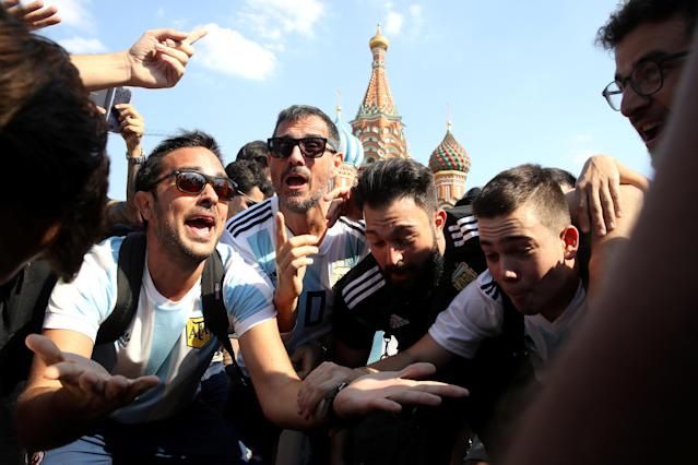 Soccer Football - World Cup - Moscow, Russia - June 18, 2018 Argentina fans in Moscow REUTERS/Carl Recine