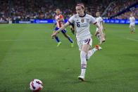 United States midfielder Rose Lavelle (16) controls the ball during the first half of an international friendly soccer match against Paraguay, Tuesday, Sept. 21, 2021, in Cincinnati. (AP Photo/Aaron Doster)