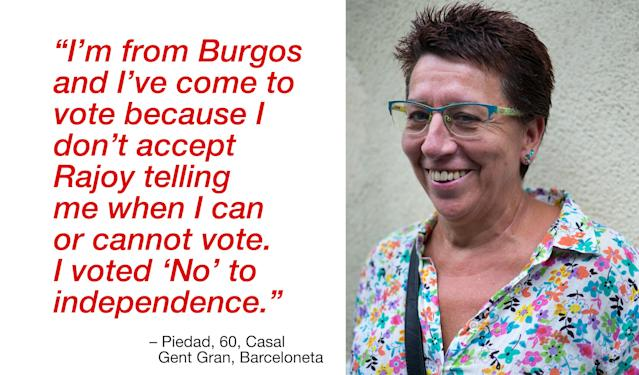 """<p>""""I'm from Burgos and I've come to vote because I don't accept Rajoy telling me when I can or cannot vote. I voted 'No' to independence."""" (Photograph by Jose Colon/ MeMo for Yahoo News) </p>"""