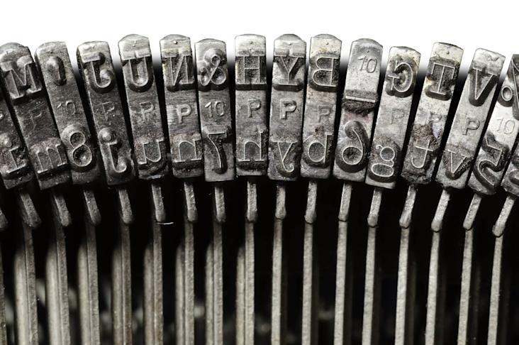 Close-up of vintage typewriter keys (Thinkstock).