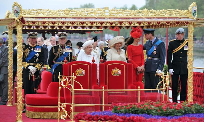 The Duke of Edinburgh, second left, with the rest of his family on the royal barge during the Queen's diamond jubilee in 2012.