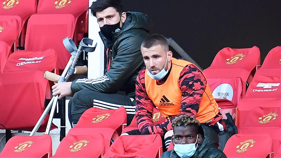 Pictured here, members of United's usual starting XI sit out the match against Leicester.