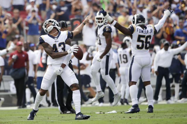 Los Angeles Rams strong safety John Johnson celebrates after an inception against the New Orleans Saints during the first half of an NFL football game Sunday, Sept. 15, 2019, in Los Angeles. (AP Photo/Marcio Jose Sanchez)