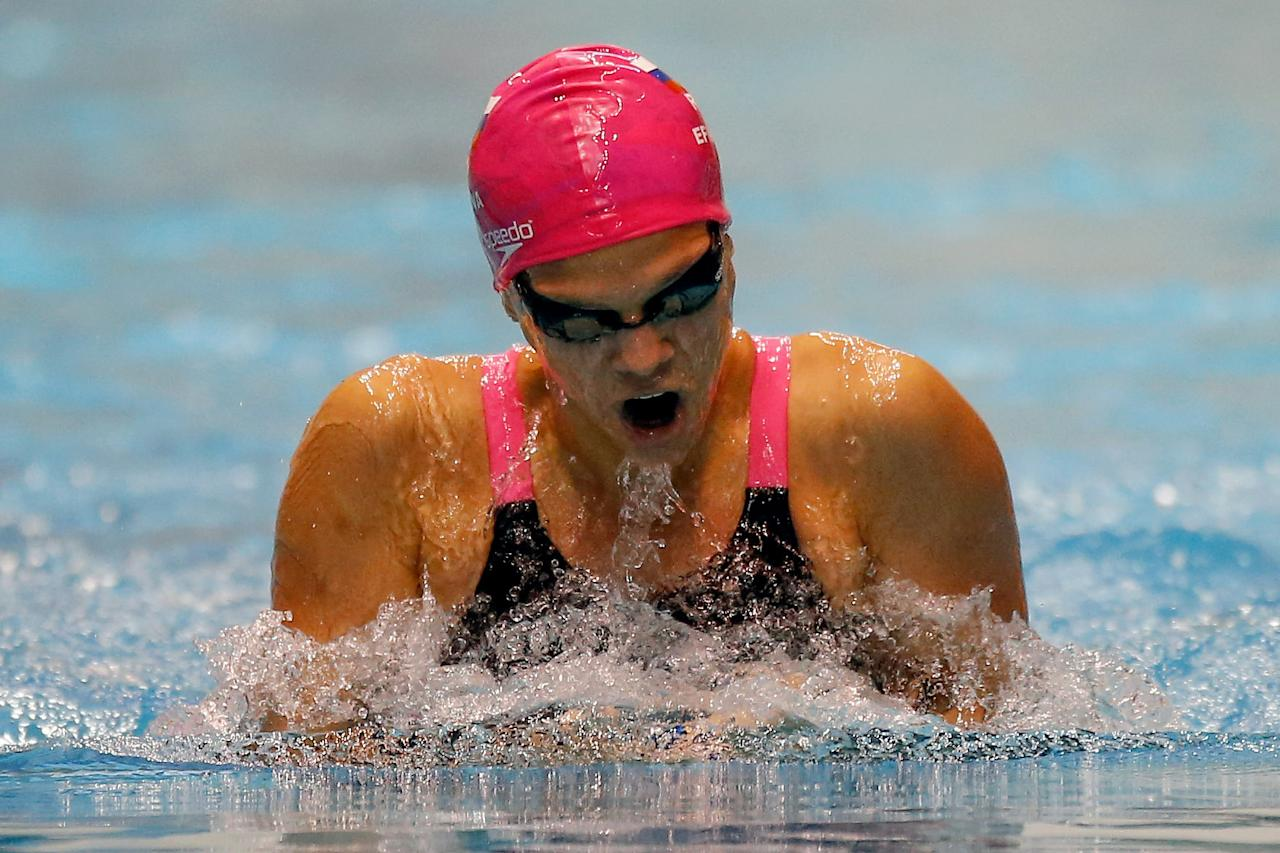 FEDERAL WAY, WA - DECEMBER 05: Yulia Efimova swims in the preliminary 200 Meter Breaststroke during the AT&T Winter National Championships at the Weyerhaeuser King County Aquatic Center on December 5, 2015 in Federal Way, Washington. Otto Greule Jr/Getty Images/AFPFEDERAL WAY, WA - DECEMBER 05: Yulia Efimova swims in the preliminary 200 Meter Breaststroke during the AT&T Winter National Championships at the Weyerhaeuser King County Aquatic Center on December 5, 2015 in Federal Way, Washington. Otto Greule Jr/Getty Images/AFP (AFP Photo/OTTO GREULE JR)