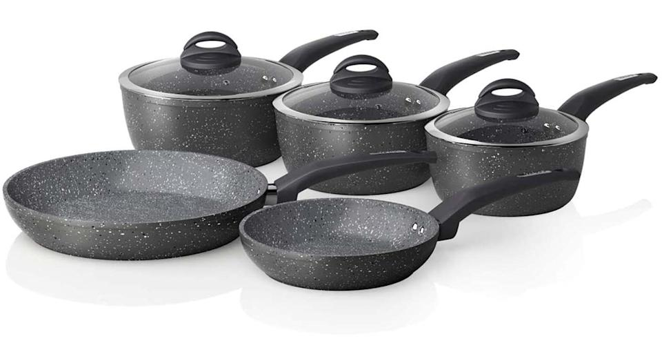 Tower Cerastone T81276 Forged 5 Piece Pan Set with Non-Stick Coating