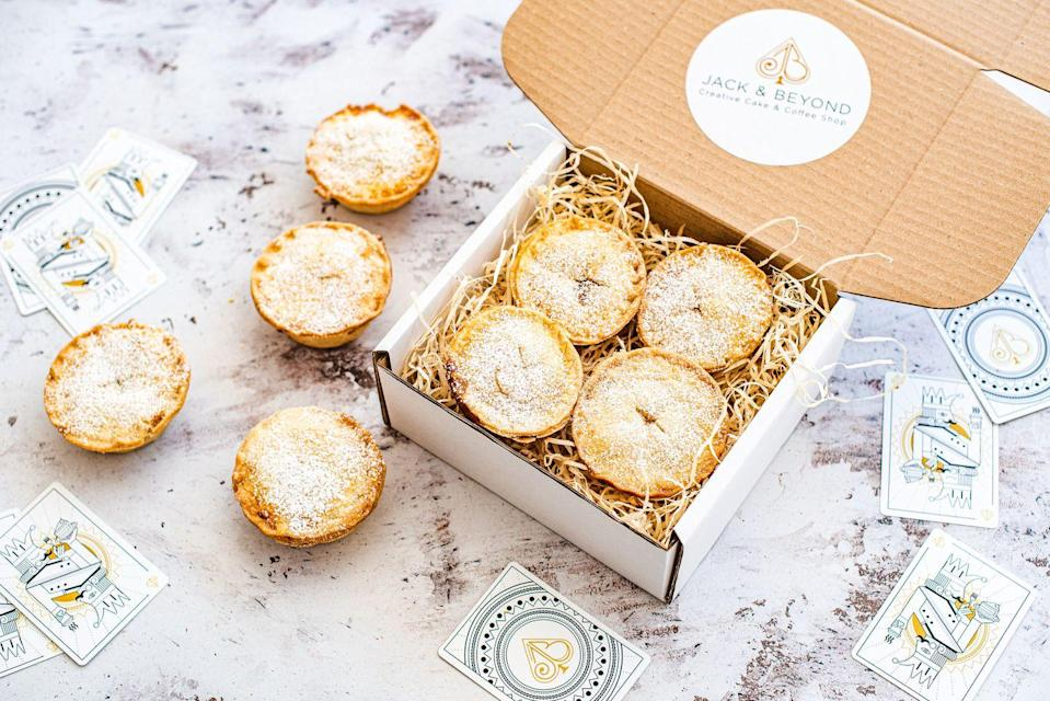 """<p><a class=""""link rapid-noclick-resp"""" href=""""https://jackandbeyond.com/collections/mince-pies"""" rel=""""nofollow noopener"""" target=""""_blank"""" data-ylk=""""slk:SHOP NOW"""">SHOP NOW</a></p><p>The Fulham baker's award-winning mince pies are a cut above the competition. Go classic or opt for the unusual chocolate or peanut butter and chocolate flavours.</p><p>Box of eight mince pies, £12, Jack & Beyond</p>"""