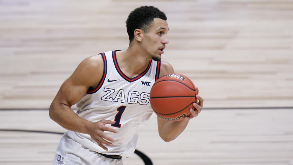 Gonzaga guard Jalen Suggs plays against Creighton in the first half of a Sweet 16 game in the NCAA men's college basketball tournament at Hinkle Fieldhouse in Indianapolis, Sunday, March 28, 2021. (AP Photo/AJ Mast)
