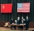 The 1985 summit focused on de-escalating the nuclear arms race between the two superpowers, and came with hopes of fostering better East-West relations