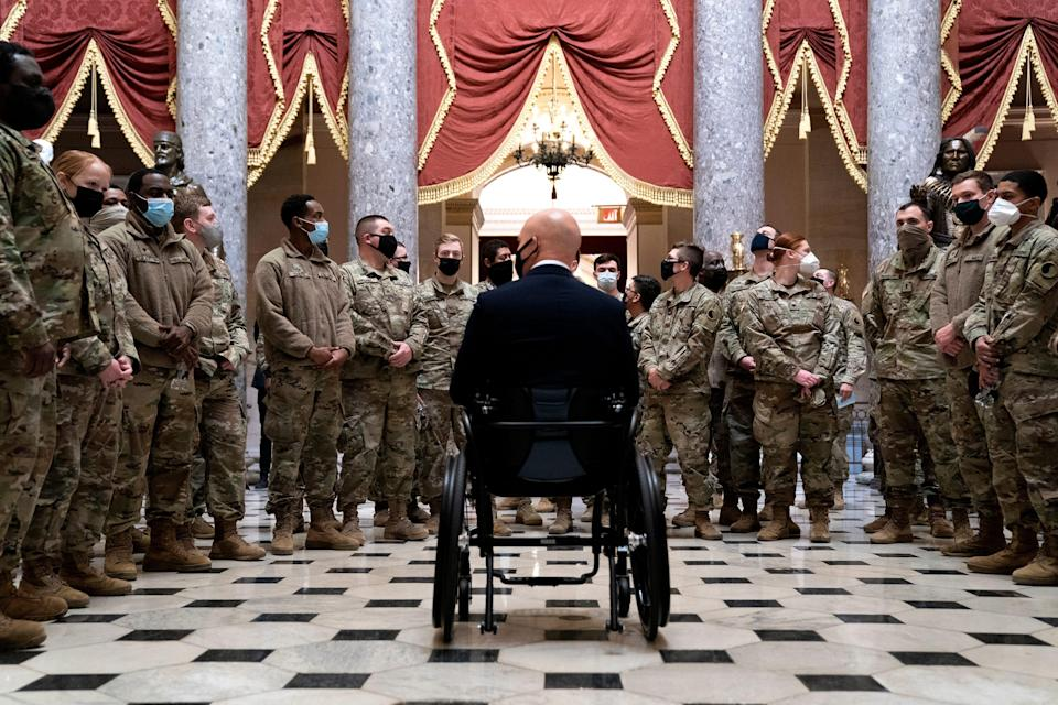Rep. Brian Mast gave members of the National Guard a tour of the U.S. Capitol