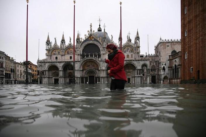 Venice, including the iconic St. Mark's Basilica were hit by the worst flooding for more than 50 years this week (AFP Photo/Marco Bertorello)
