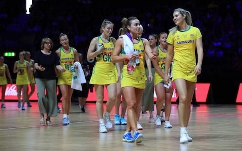 Australia's team during the Netball World Cup match at the M&S Bank Arena, Liverpool - Credit: PA