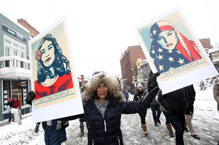 <p>Participant attends The Women's March on Main covered by The IMDb Studio during The 2017 Sundance Film Festival on January 21, 2017 in Park City, Utah. (Tommaso Boddi/Getty Images) </p>