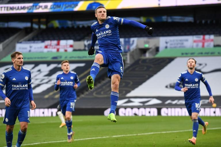Flying Foxes: Jamie Vardy (centre) helped Leicester beat Tottenham 2-0 to move second in the Premier League