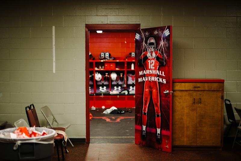 The football locker room at Marshall High School, in Marshall, Texas, Sept. 14, 2019. (Brandon Thibodeaux/The New York Times)