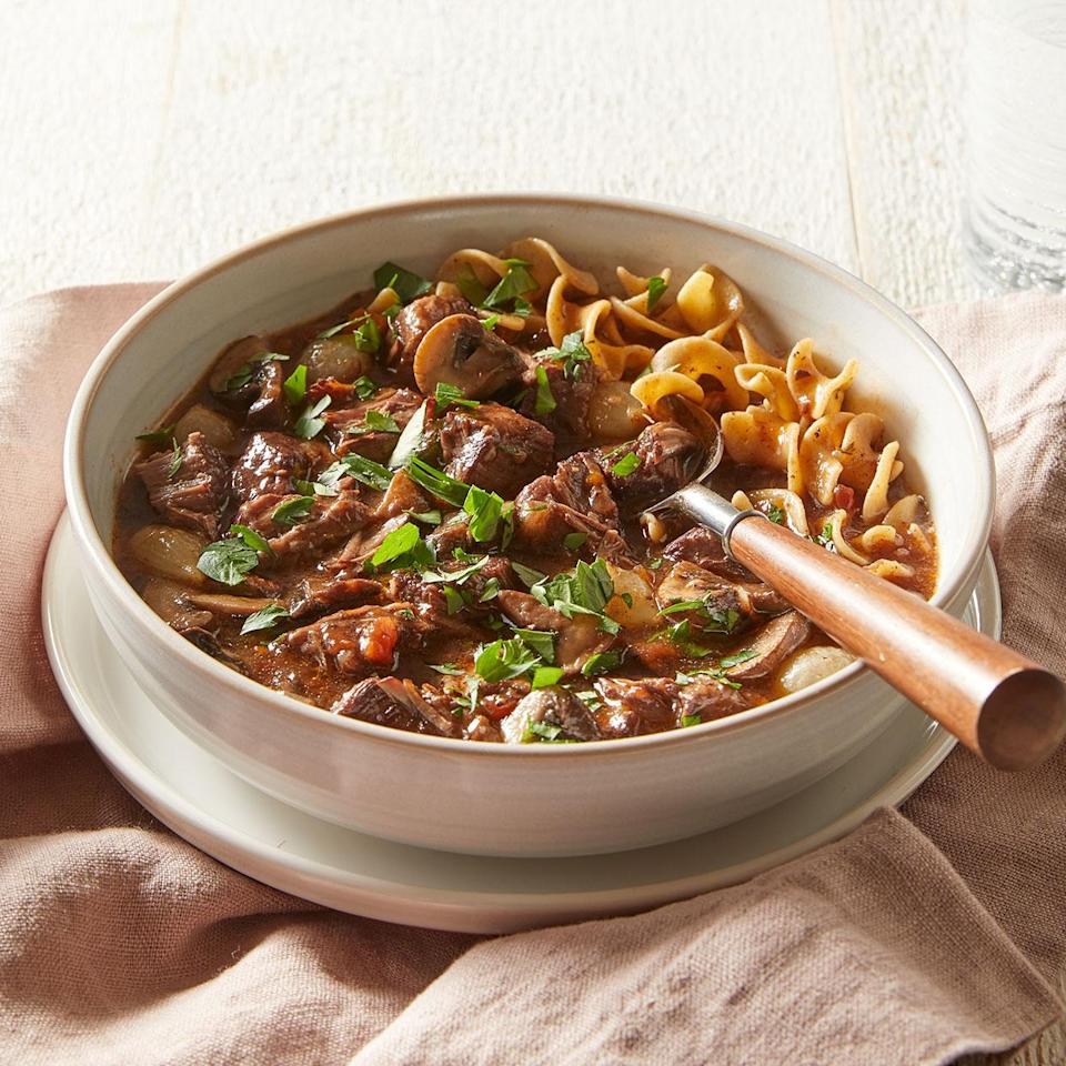 <p>Use your Instant Pot as a pressure cooker for this easy beef bourguignon recipe. If desired, serve this stew with whole-wheat egg noodles to soak up the delicious sauce.</p>