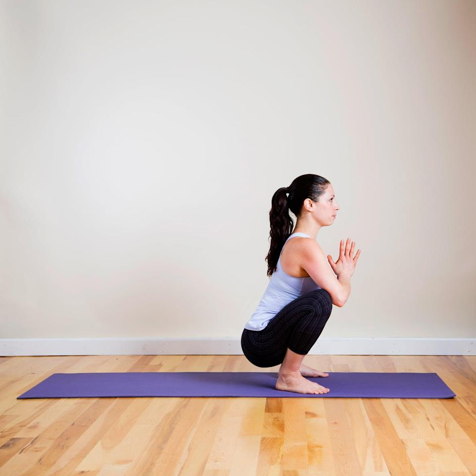 <p>One pose I constantly find myself in is the Wide Squat. Not only is it a deep stretch for my hips, but I'm also always reminded to keep my chest open, shoulders down, and body upright when I'm in it. I hold this pose anywhere from 30 seconds to two minutes. </p> <ul> <li>From Wide Child's Pose, tuck your toes and sit up. Stand with your feet wider than hips-width-distance apart in a low squat, trying to bring your feet parallel.</li> <li>Press your palms together in front of your chest, or rest your hands on the floor in front of you and exhale as you relax your head. </li> <li>Enjoy holding this stretch for five deep breaths.</li> </ul>